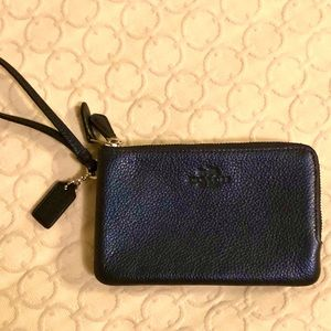 Coach Pebble Leather Dbl Corner Zip Wristlet